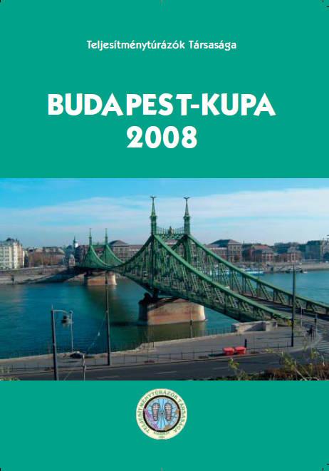 Budapest Kupa 2008 teljesítménytúra mozgalom igazoló füzet címlap