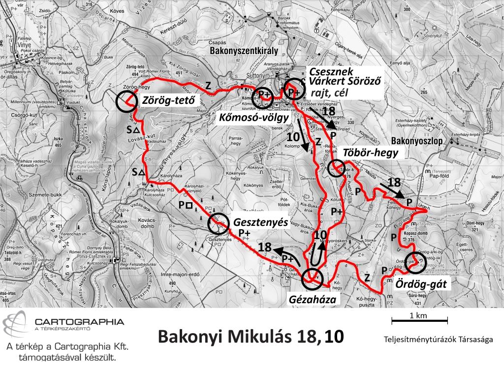 Bakonyi Mikulás teljesítménytúra térkép - 18km, 10km