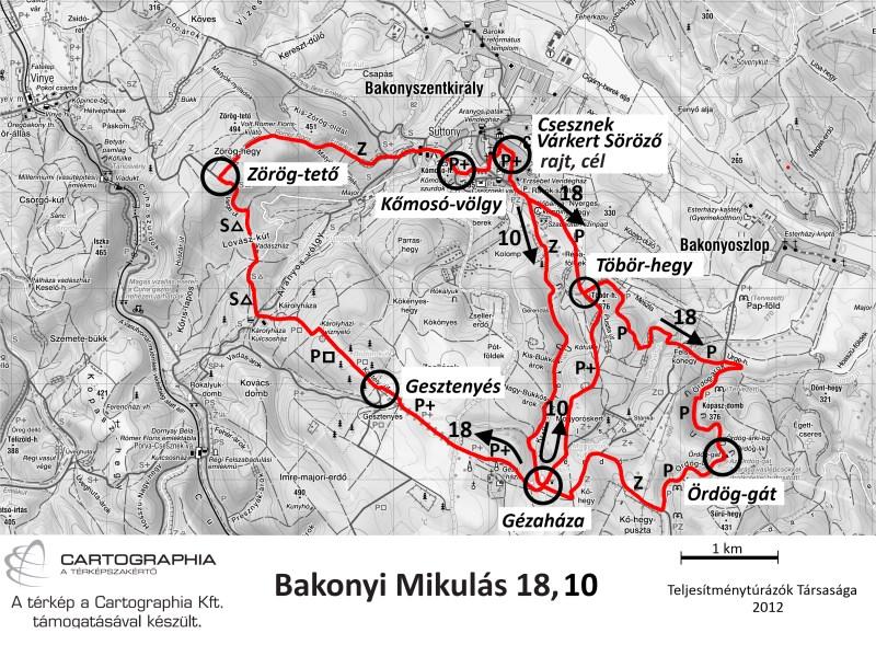 Bakonyi Mikulás teljesítménytúra térkép - 18km, 10km - 2012