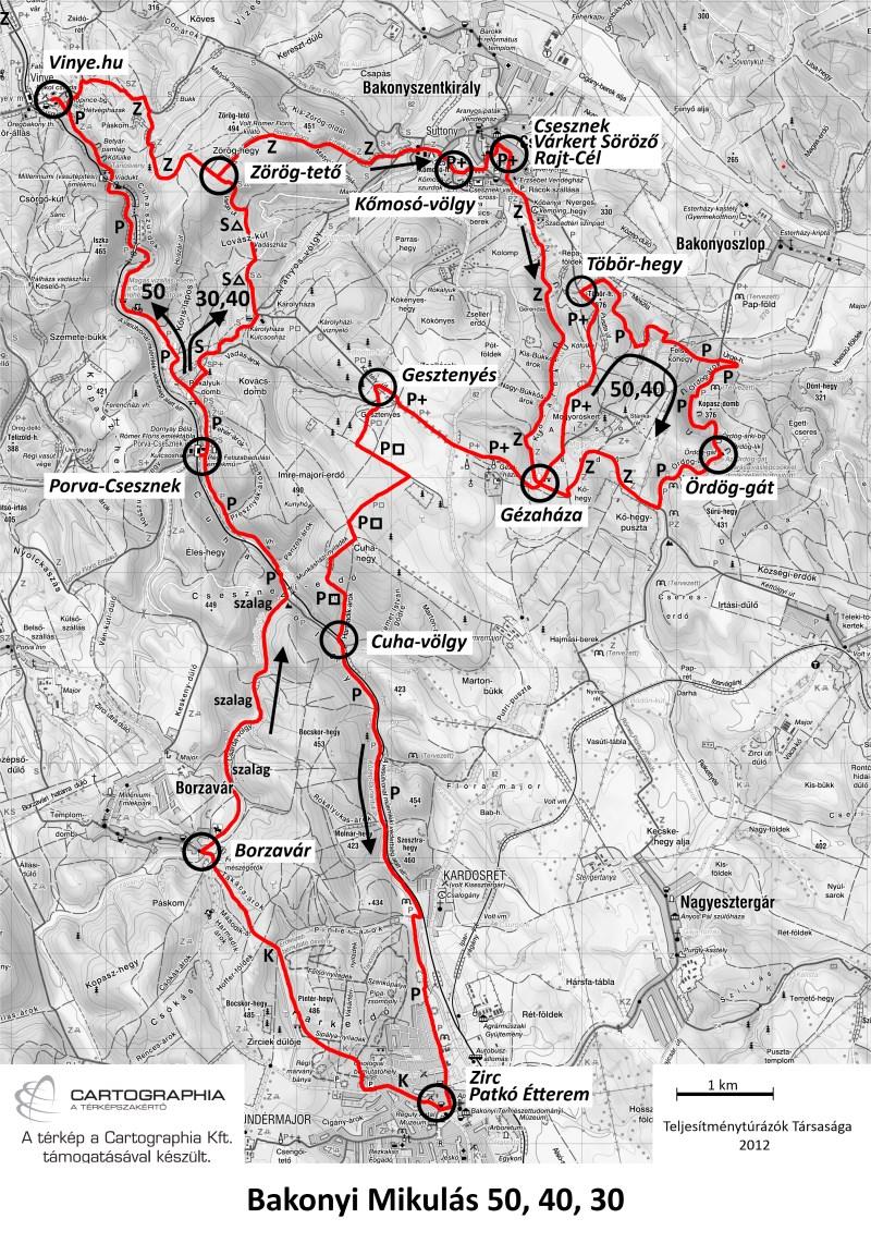 Bakonyi Mikulás teljesítménytúra térkép - 50km, 40km, 30km - 2012