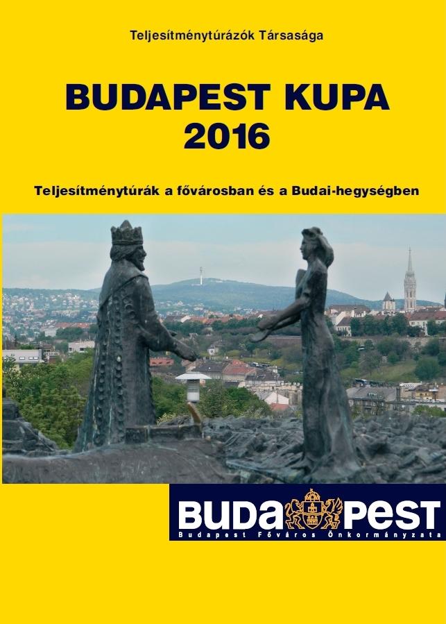 Budapest Kupa 2016 teljesítménytúra mozgalom igazoló füzet címlap