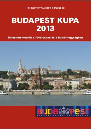 Budapest Kupa 2013 teljesítménytúra mozgalom kupafüzet címlap