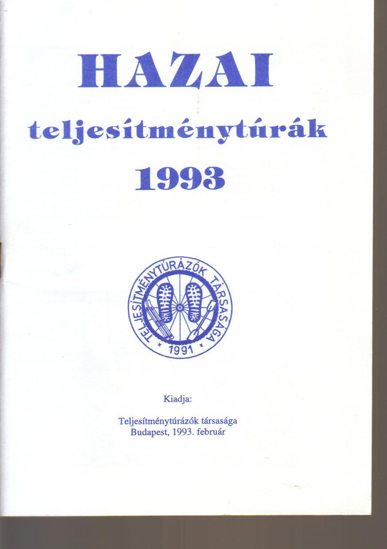 Teljesítménytúra Naptár címlap 1993