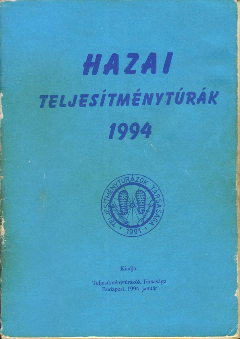 Teljesítménytúra Naptár címlap 1994