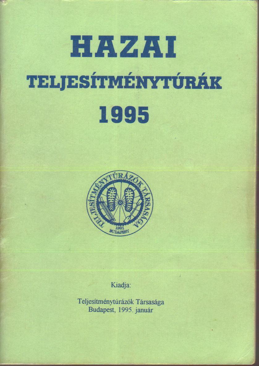 Teljesítménytúra Naptár címlap 1995