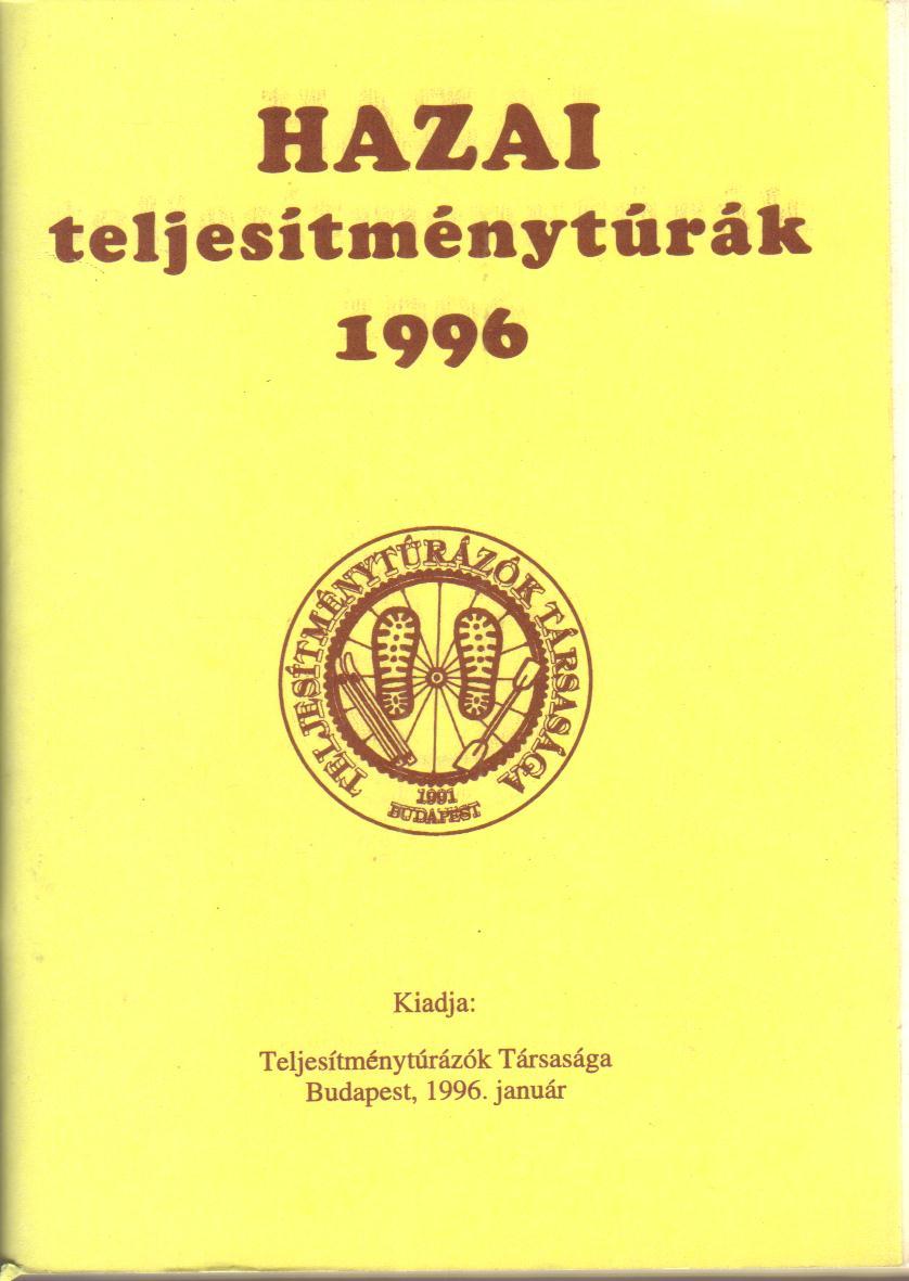 Teljesítménytúra Naptár címlap 1996