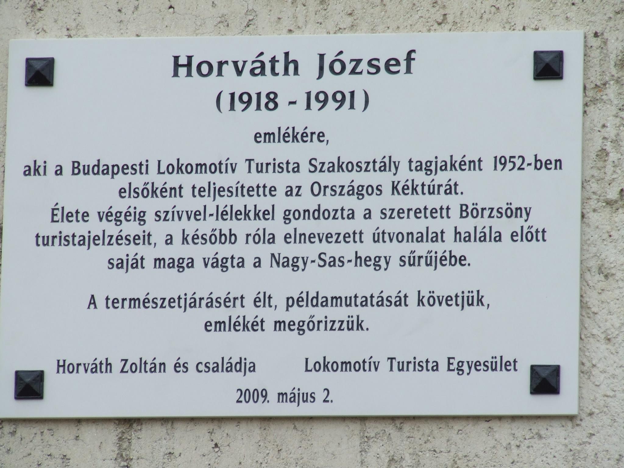Horváth József emléktáblája Márianosztrán