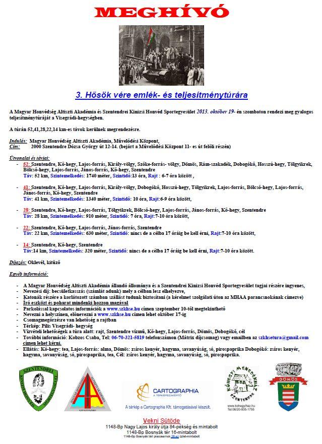 Hősök vére emlék- és teljesítménytúra 2013 rendezői kiírás