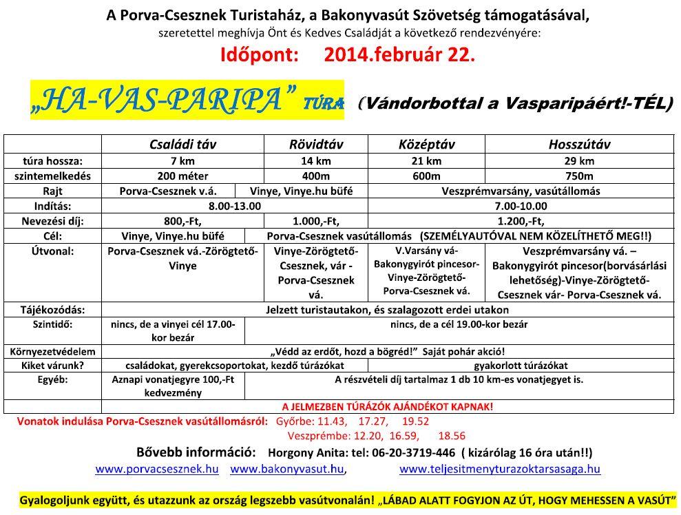 Ha-Vas-Paripa teljesítménytúra kiírás