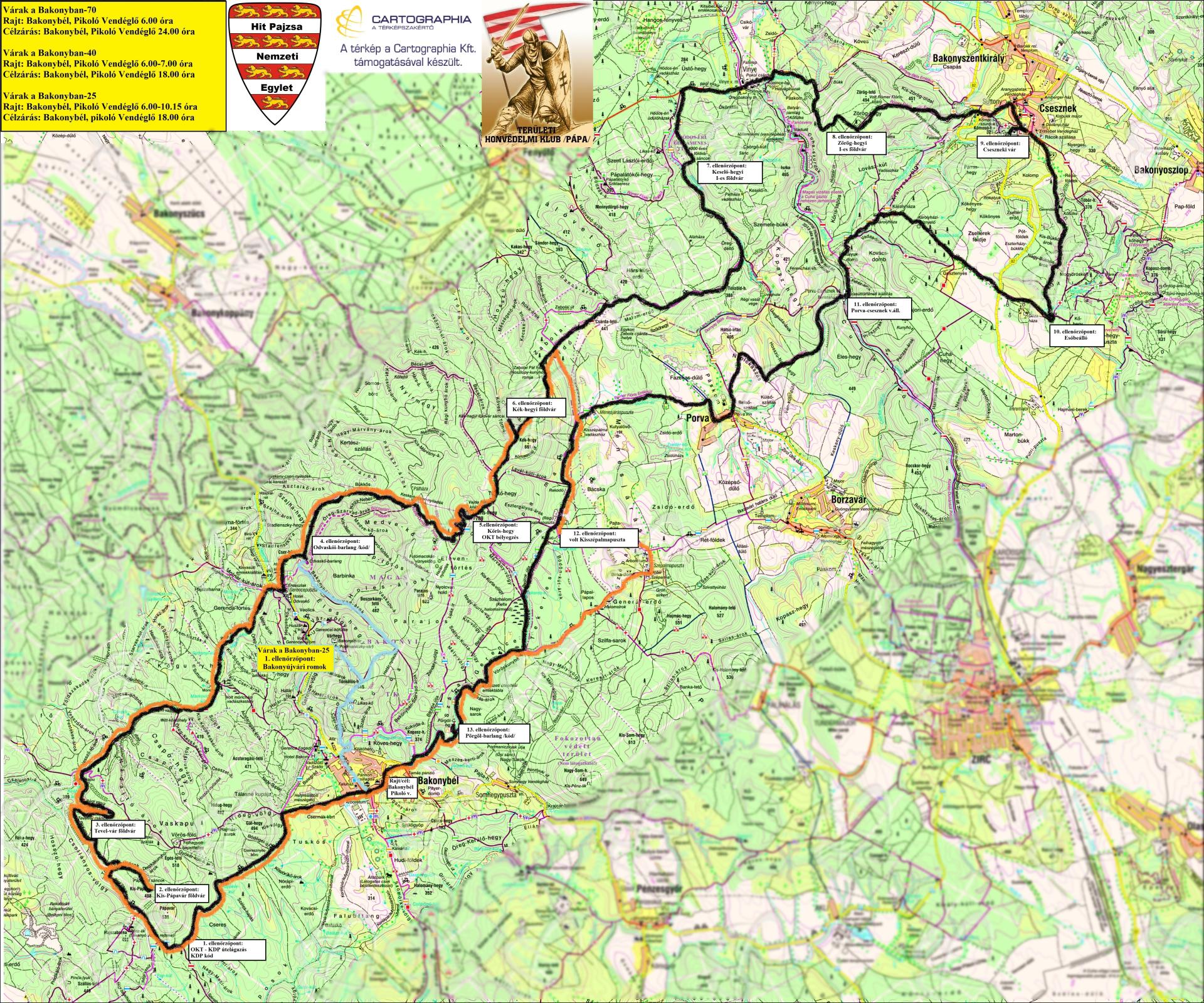 bakonybél térkép Várak a Bakonyban   Nagy Kör 70/Kis Kör 40/ 25 (Új résztáv  bakonybél térkép