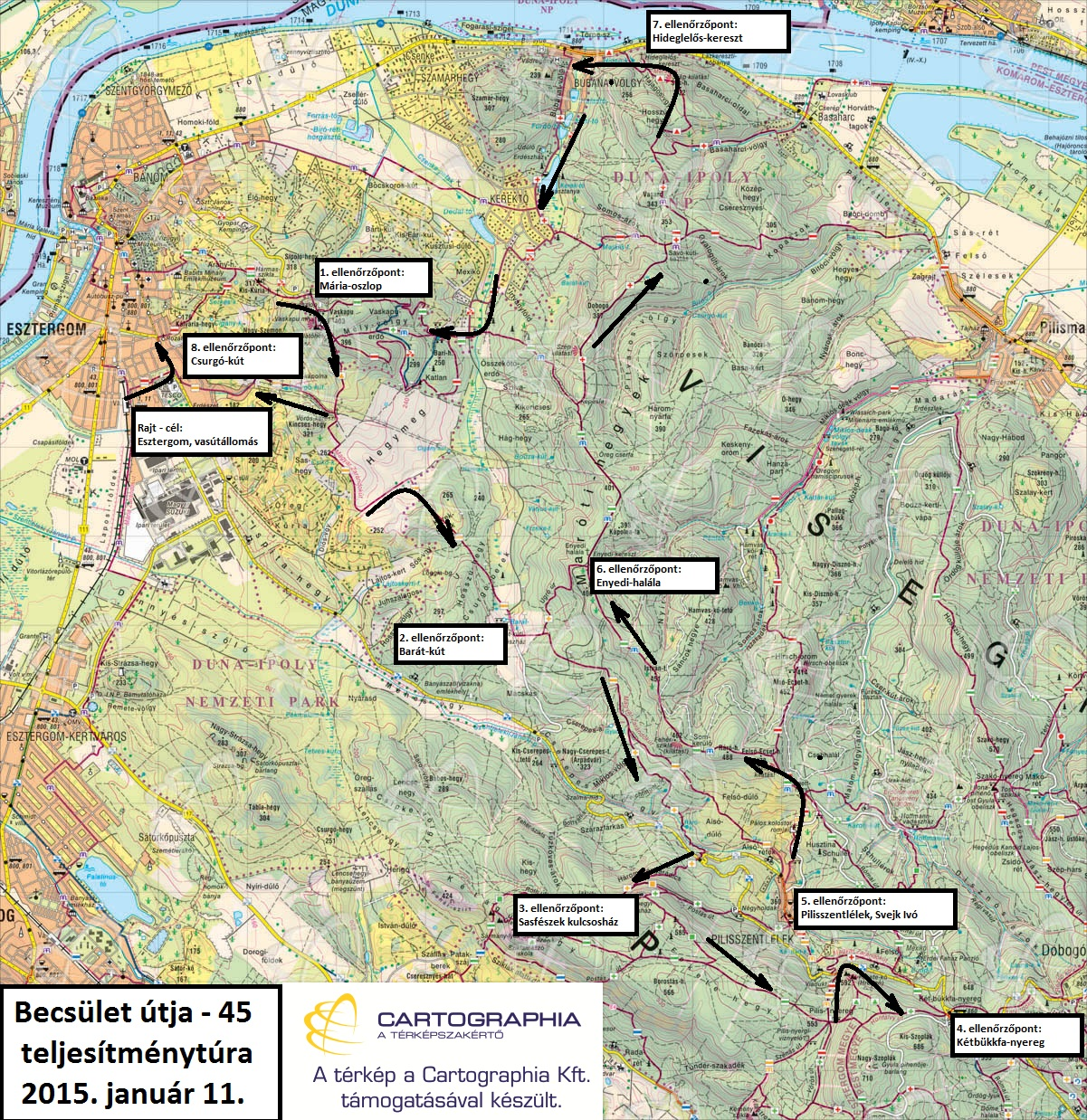 Becsület útja 45 térképvázlat