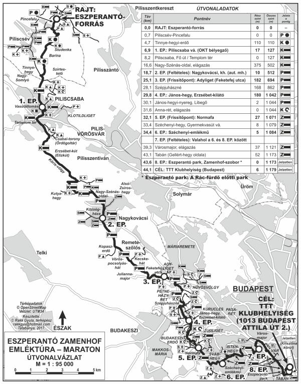 Eszperantó Zamenhof Maraton emléktúra térkép